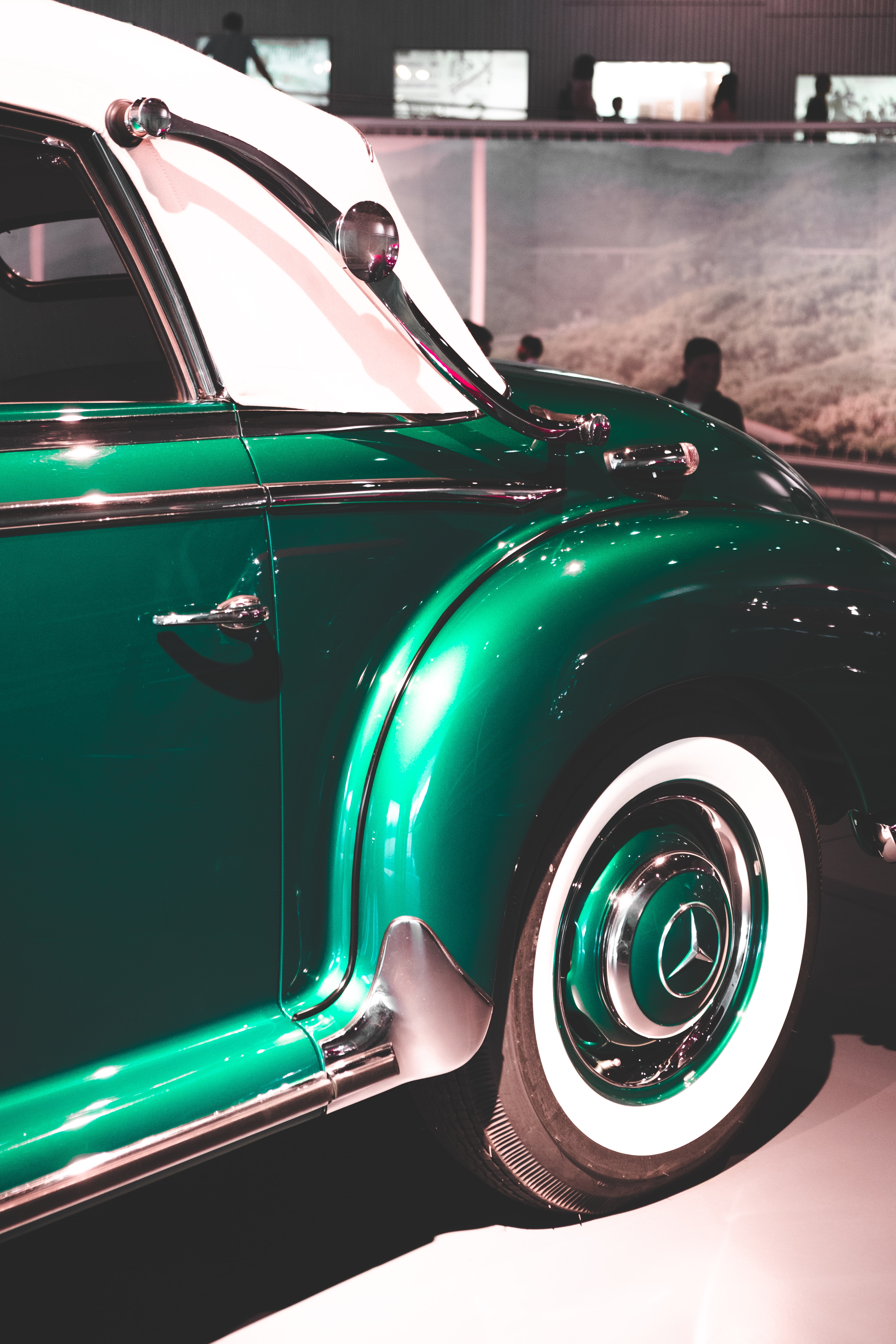 green and white vehicle