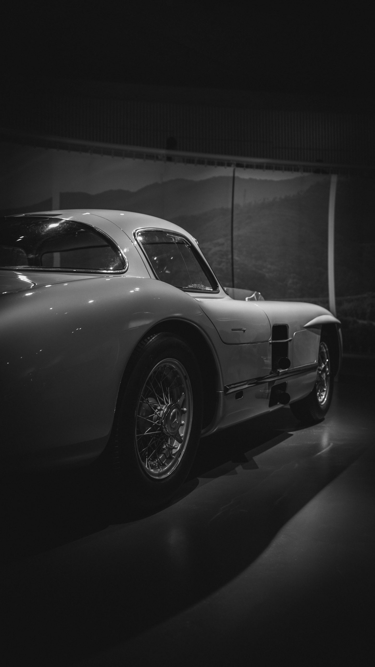 grayscale photography of coupe
